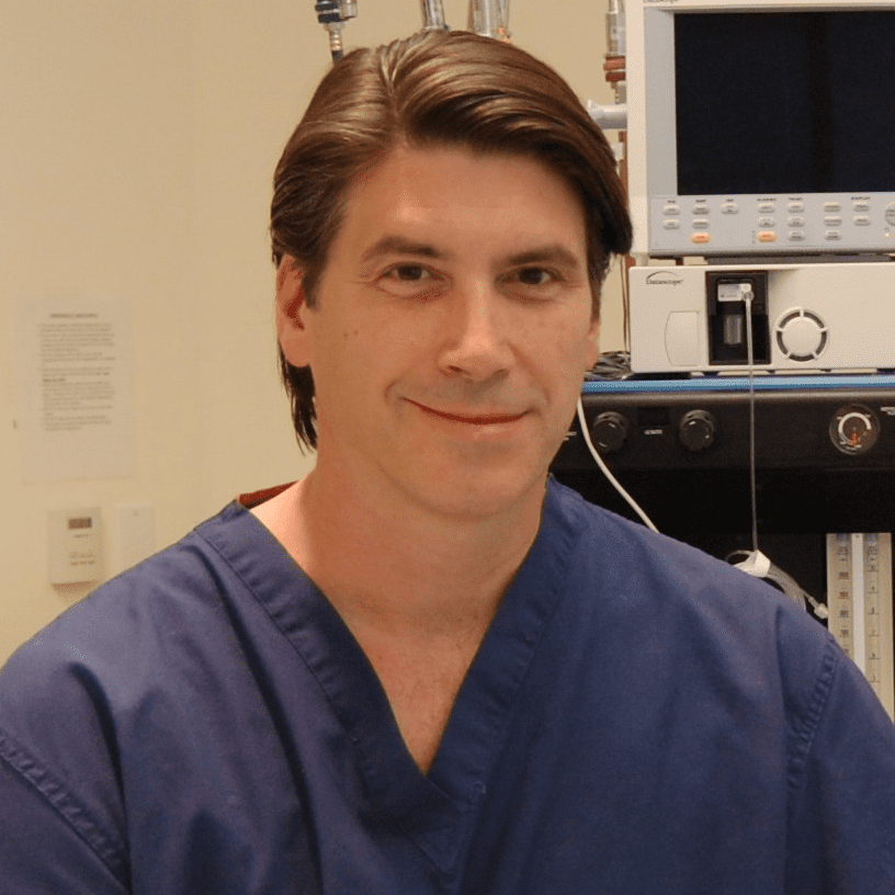 Dr. Don Waldrep in blue scrubs in weight loss surgery operating room
